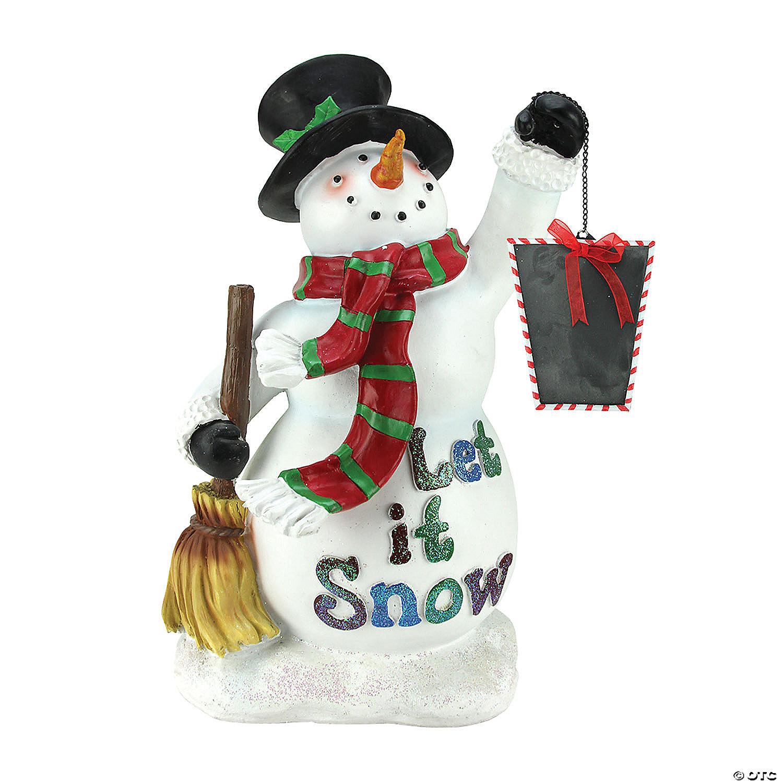 Northlight 18 White Snowman Holding Broom And Blackboard Christmas Figurine Oriental Trading