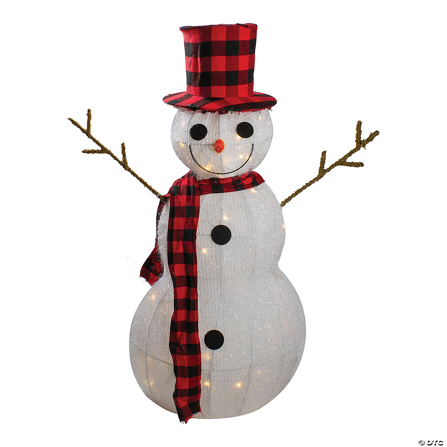 Northlight 35 Lighted 3 D Snowman With Top Hat And Twig Arms Outdoor Christmas Decoration Oriental Trading