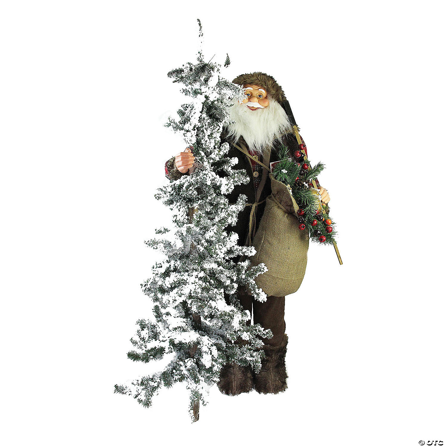 Northlight 48 Standing Woodland Santa Claus With Artificial Flocked Alpine Tree Christmas Figure Oriental Trading