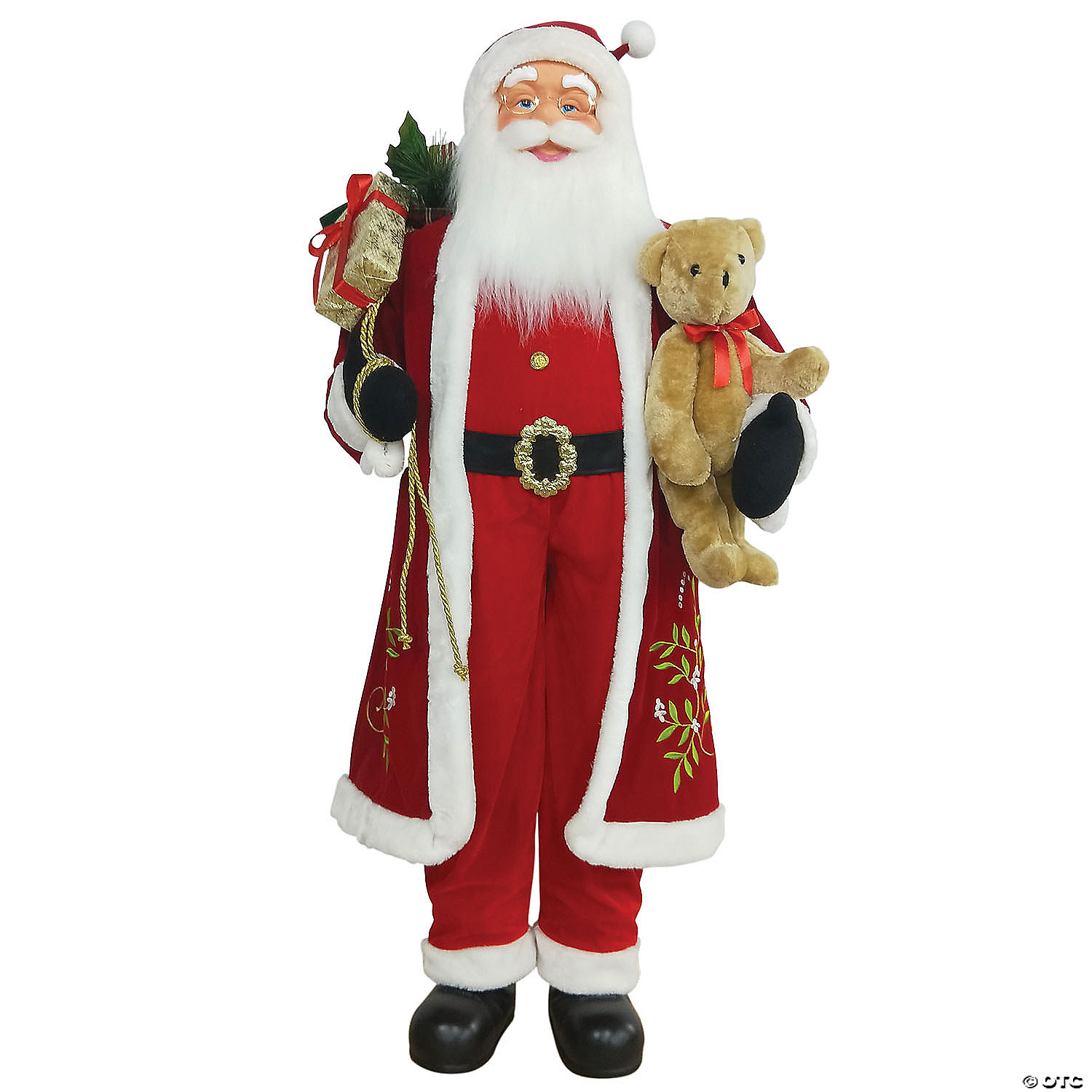 Northlight 5 Life Size Standing Santa Claus Christmas Figure With Teddy Bear And Gift Bag Oriental Trading