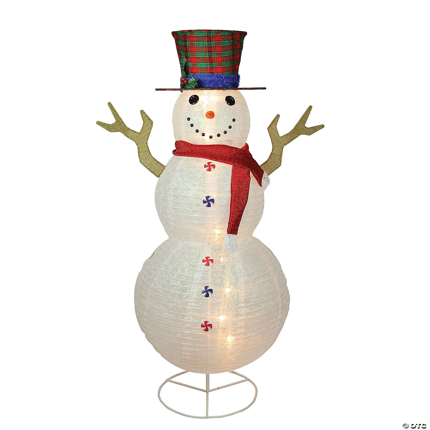 Northlight 6 Pre Lit Glittered Snowman With Plaid Hat Outdoor Christmas Yard Art Decor