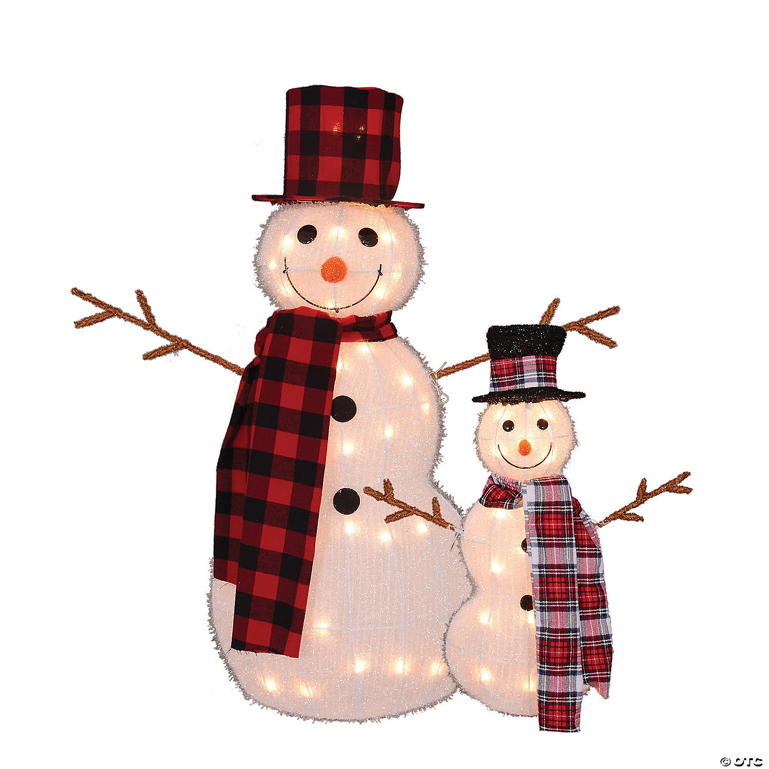 Northlight Set Of 2 White And Black Pre Lit 3d Snowmen Top Hats With Twig Arms Outdoor Christmas Decor 35