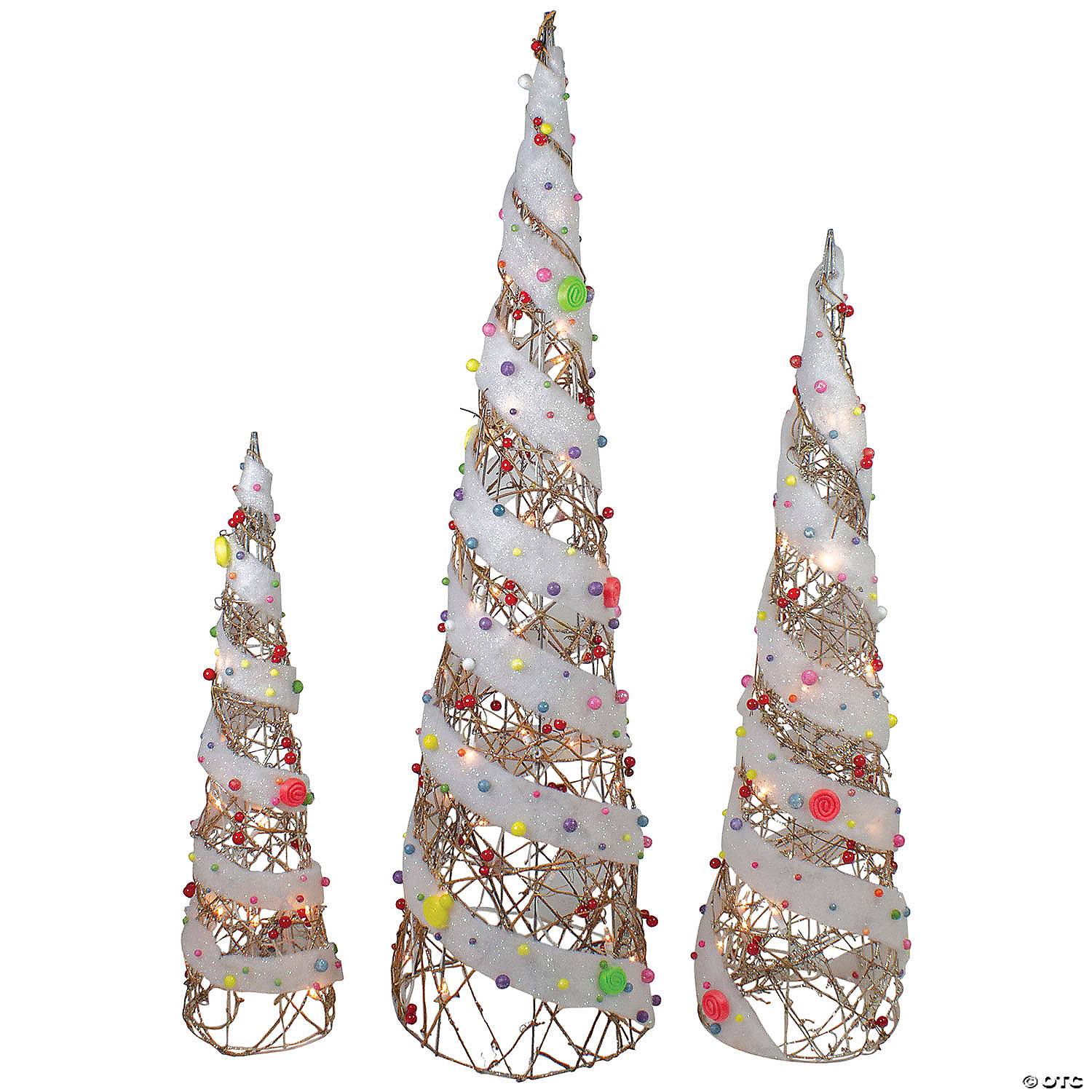 Northlight Set Of 3 Champagne Gold Lighted Rattan Candy Covered Cone Tree Outdoor Christmas Decorations 39 25