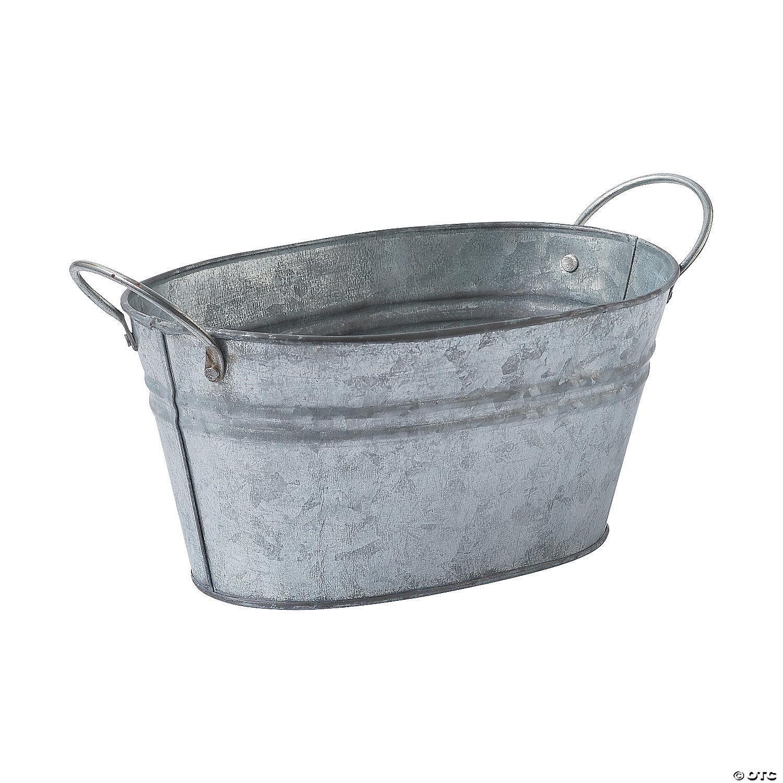 Oval Galvanized Bucket Oriental Trading