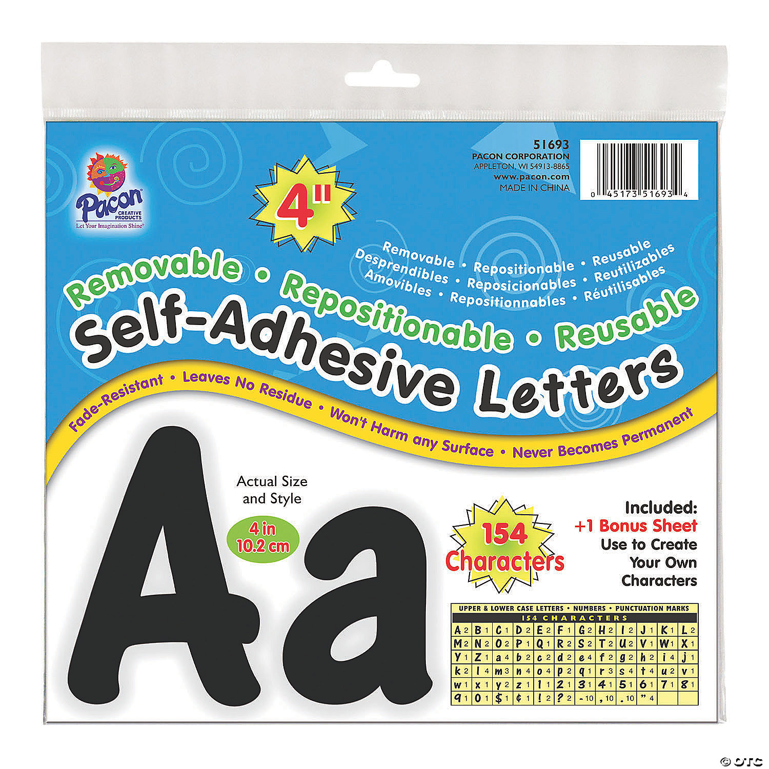 Pacon Self Adhesive Letters Black 4 Oriental Trading