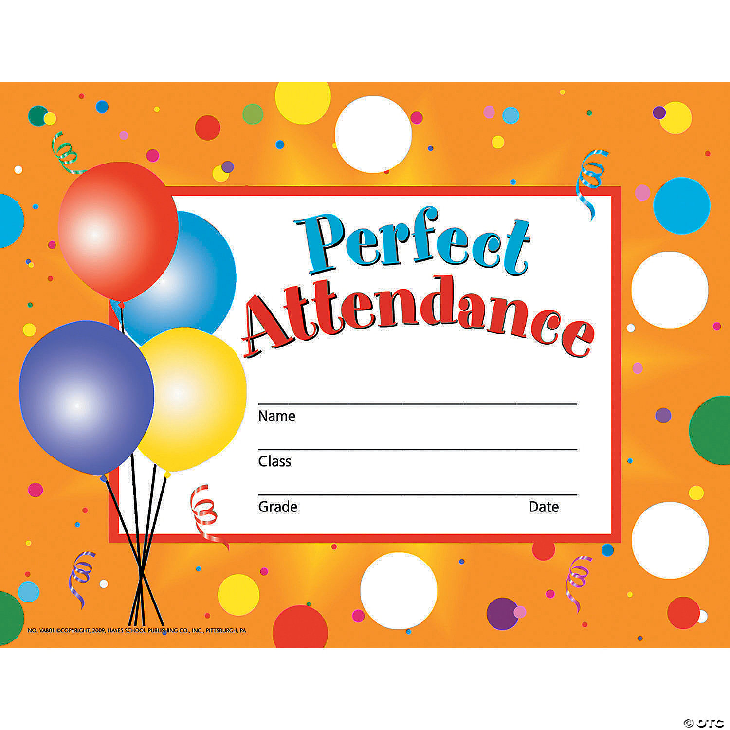 Perfect Attendance Certificates Oriental Trading