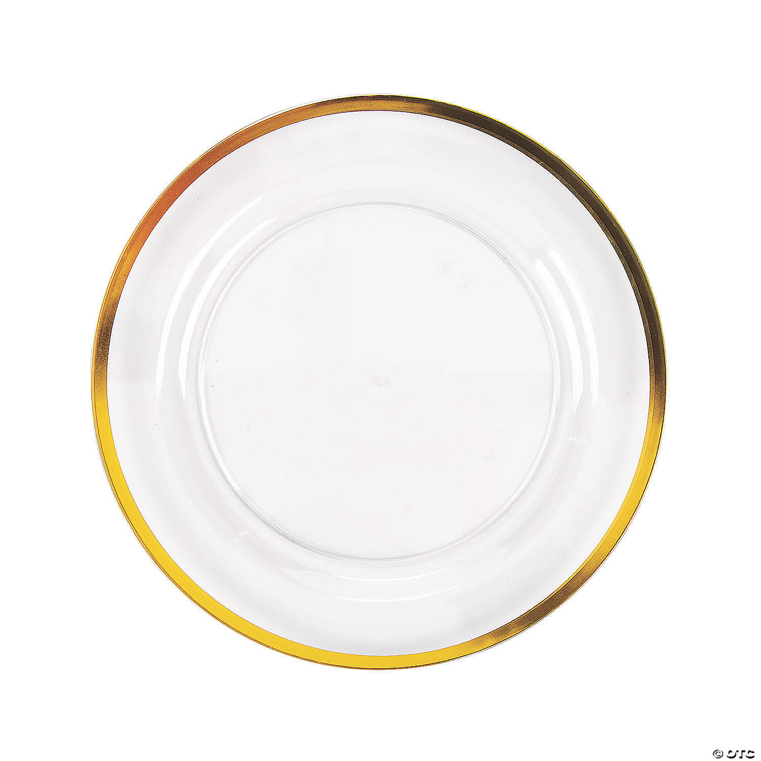 Premium Clear Plastic Dinner Plates With Gold Trim 25 Ct Oriental Trading