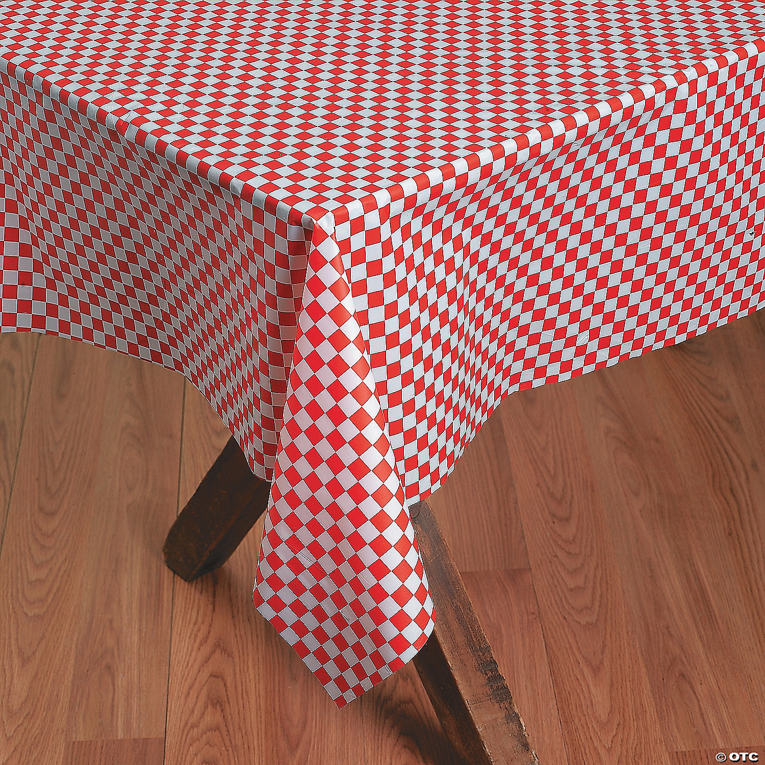 Red And White Checkered Banquet Plastic Tablecloth Roll