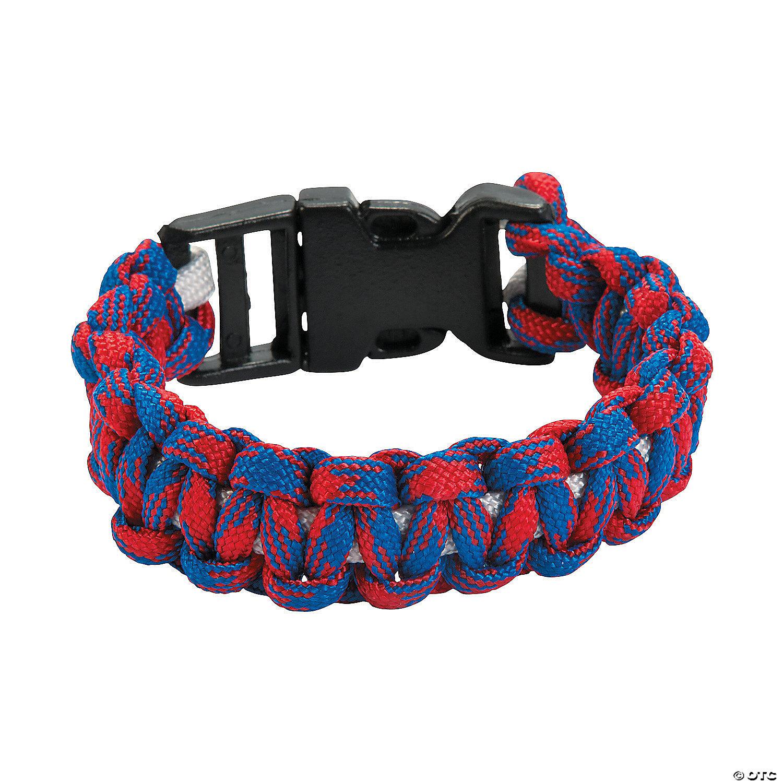 Red, White & Blue Paracord Bracelet Craft Kit  Oriental Trading