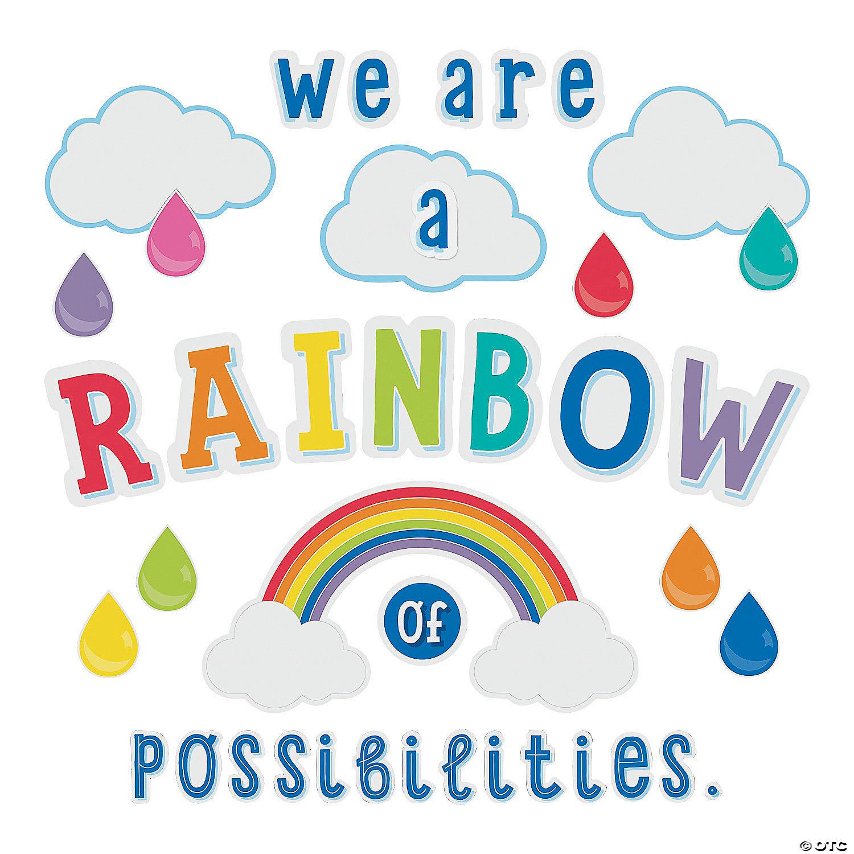 Schoolgirl Style Hello Sunshine Rainbow Bulletin Board Set Oriental Trading