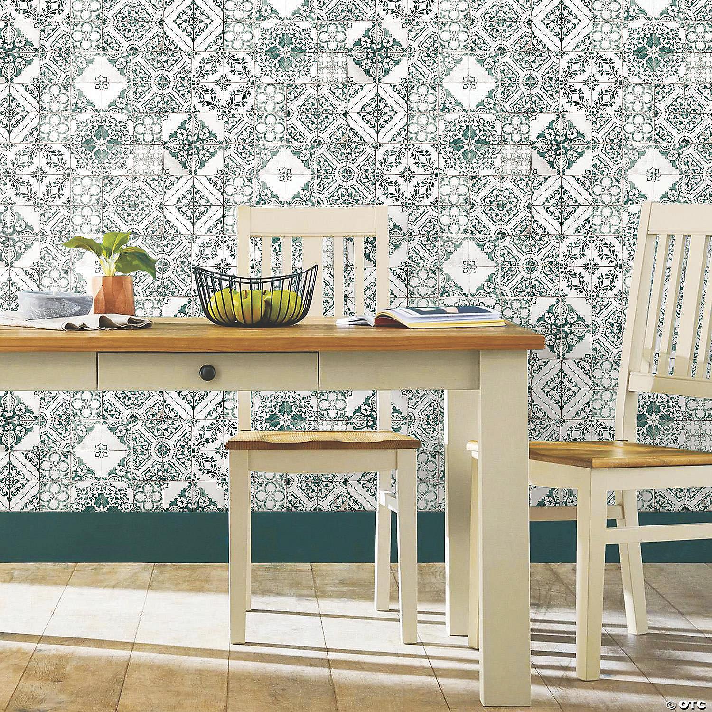 Teal Mediterranean Tile Peel Stick Wallpaper Oriental Trading