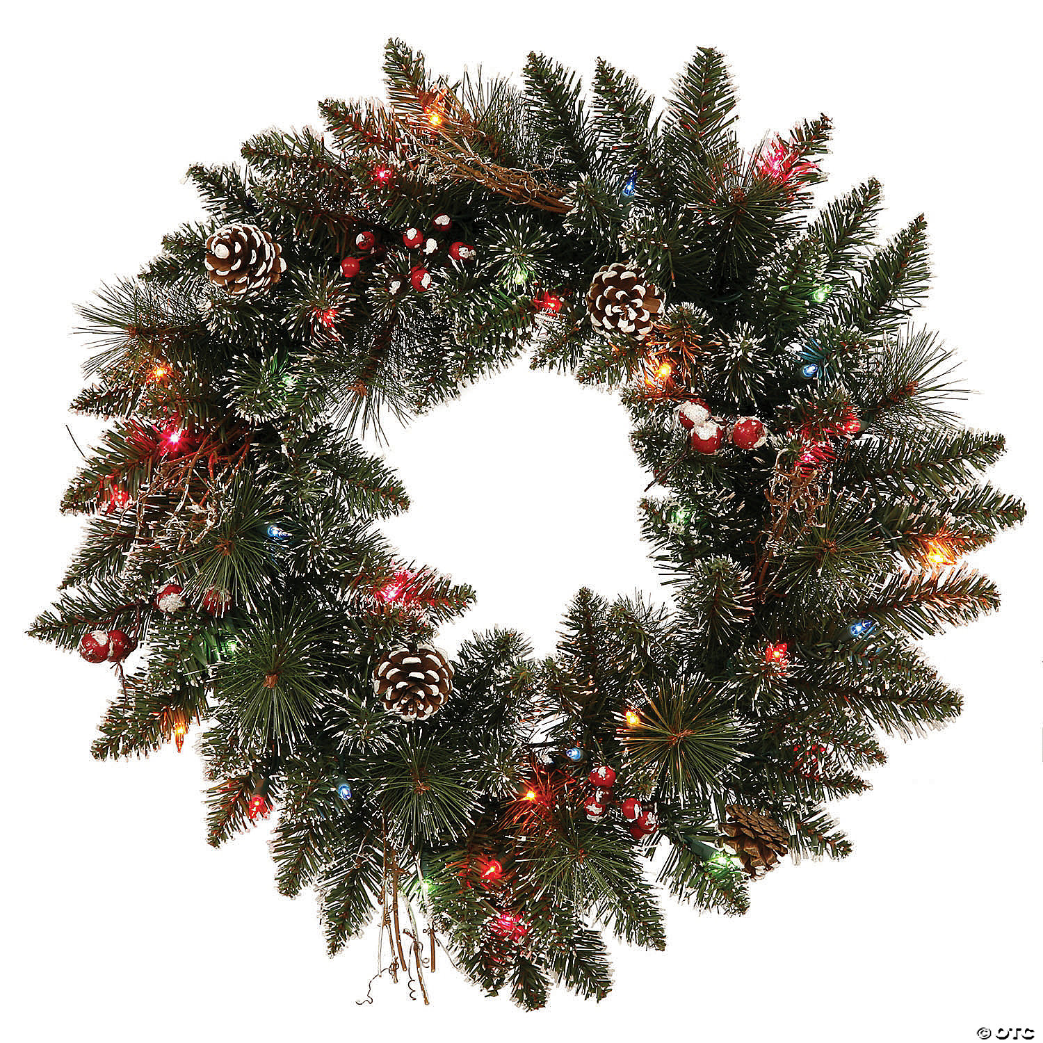 Vickerman 24 Snow Tipped Pine And Berry Christmas Wreath With Multi Colored Lights