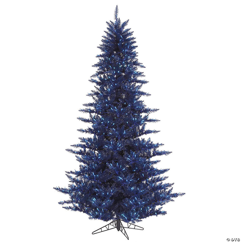 Vickerman 3 Navy Blue Fir Christmas Tree With Blue Led Lights