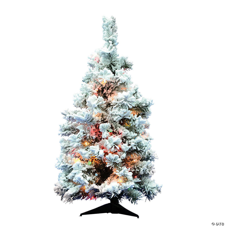 Vickerman 36 Flocked Alaskan Pine Christmas Tree With Multi Colored Lights