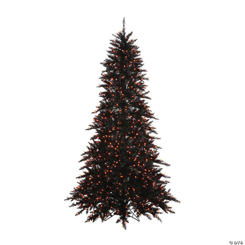 Vickerman 4 5 Black Fir Slim Christmas Tree With Orange Lights