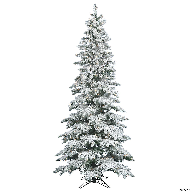 Vickerman 6 5 Flocked Utica Fir Slim Christmas Tree With Clear Lights