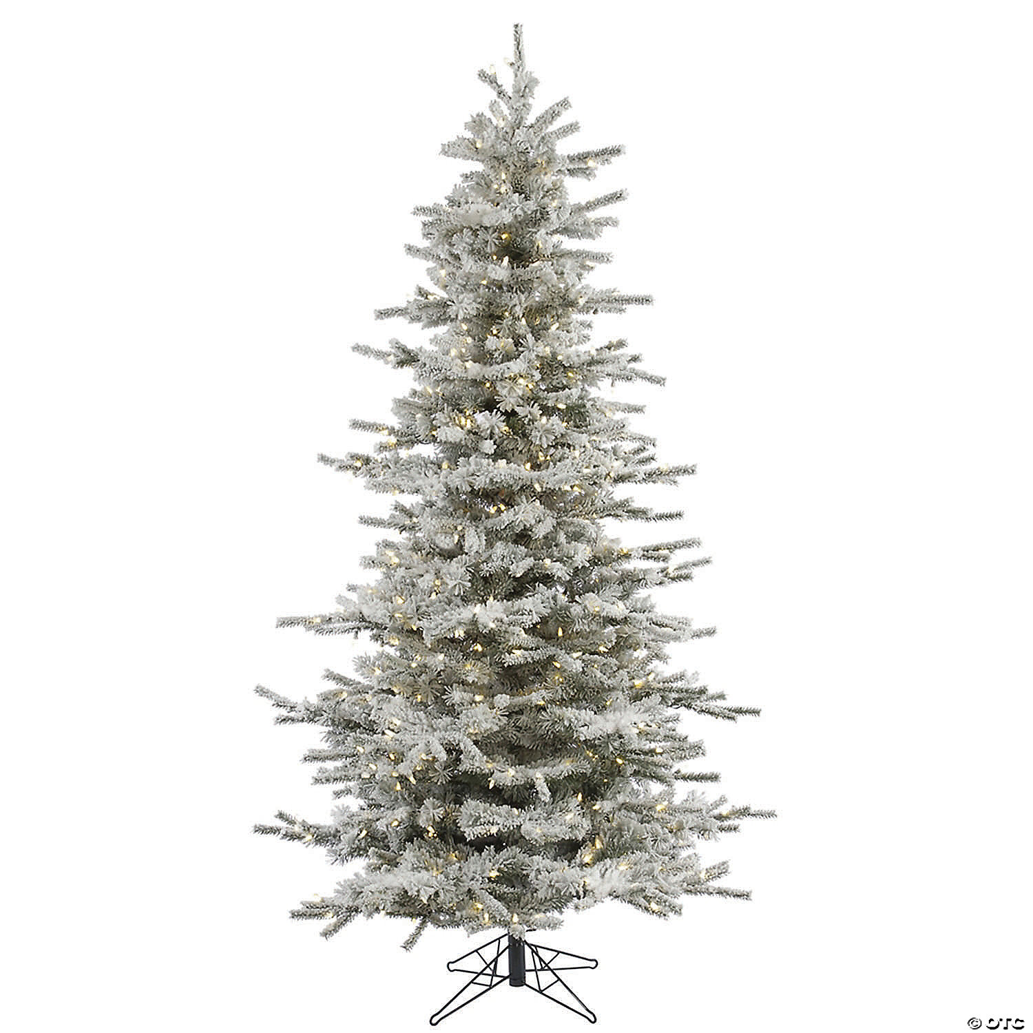Vickerman 7 5 Flocked Sierra Fir Slim Christmas Tree With Warm White Led Lights Oriental Trading
