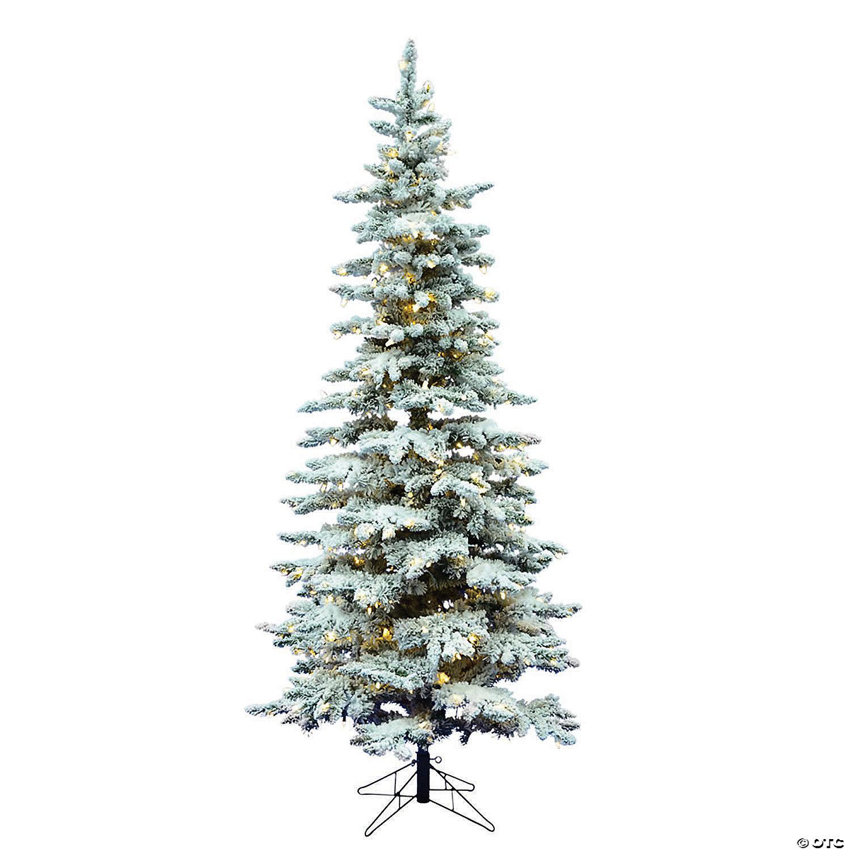 Vickerman 7 5 Flocked Utica Fir Slim Christmas Tree With Warm White Led Lights Oriental Trading