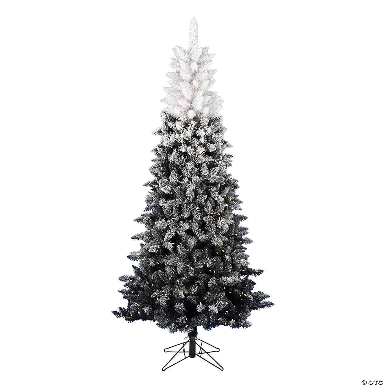 Vickerman 9 X 53 Frosted Black White Ombre Artificial Christmas Tree With Warm White Led Lights