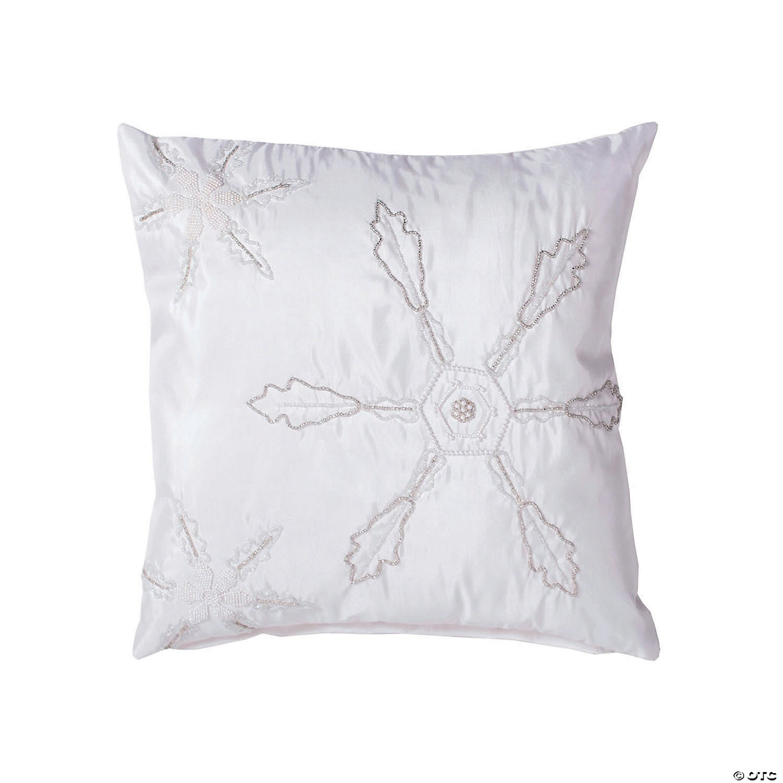 Vickerman White 18 X 18 Beaded Snowflakes Throw Pillow Oriental Trading