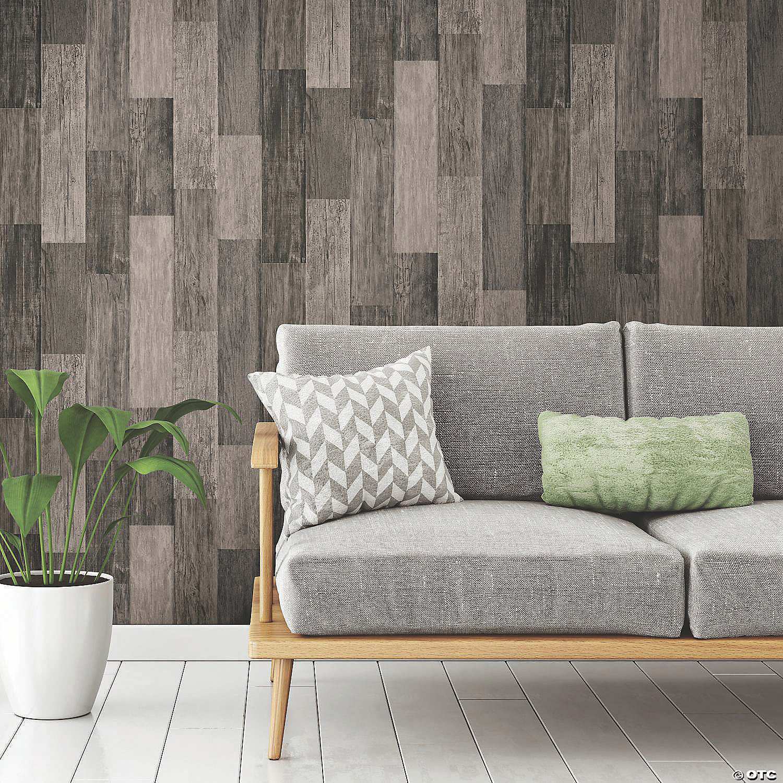 Weathered Wood Plank Black Peel Stick Wallpaper Oriental Trading