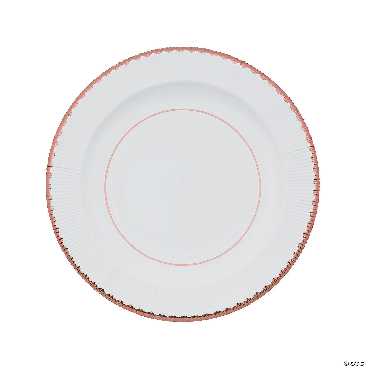 White Paper Dinner Plates With Rose Gold Trim 8 Ct Oriental Trading