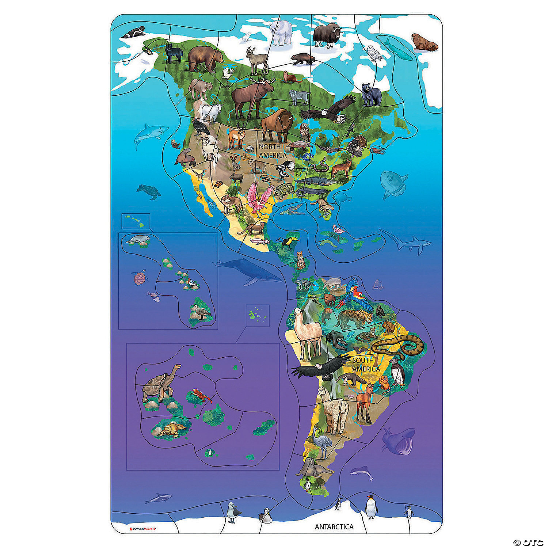 Wildlife Puzzle North South America Oriental Trading 6) where do you live? wildlife puzzle north south america