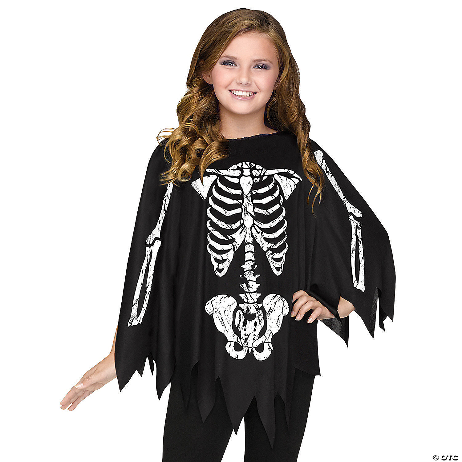 55fa91ed2be5a Women's & Girl's Skeleton Poncho Costume