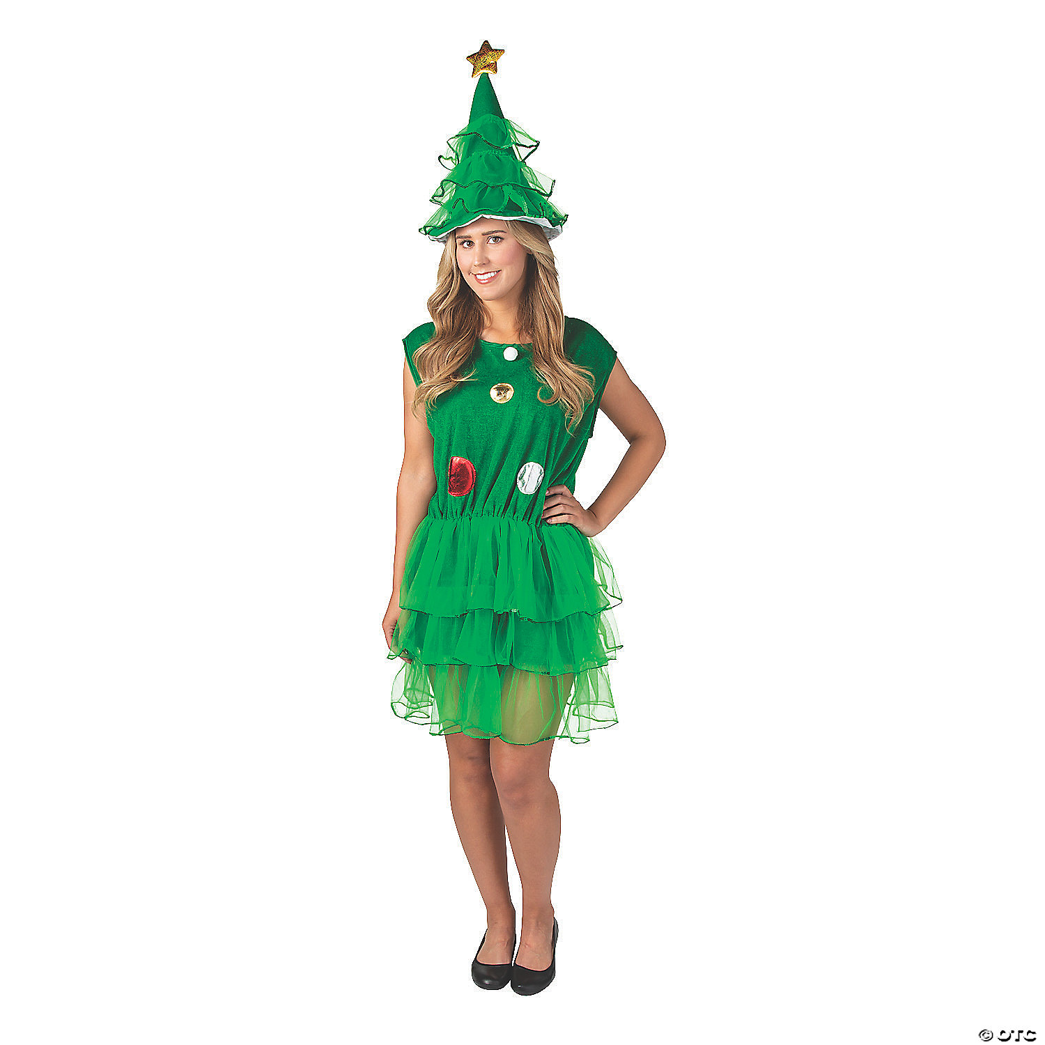 Women S Christmas Tree Dress And Hat Costume Oriental Trading