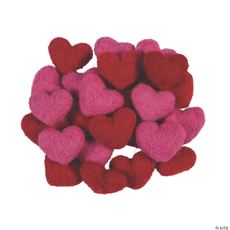 Wool Felt Valentine Hearts Craft Supplies 24 Pieces