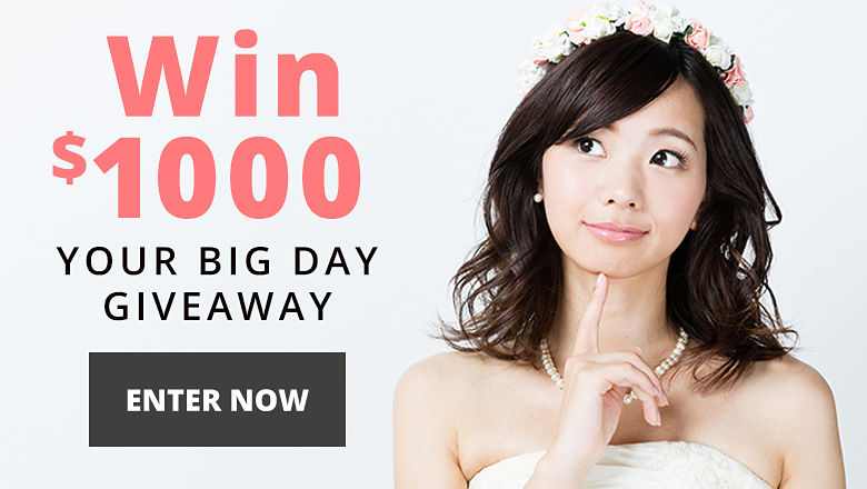 Your Big Day Giveaway - We're giving away a $1000 gift card every month! Enter for your chance to win.