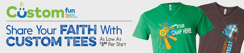 Custom Fun365. Share your faith with custom tees as low as $3.88 per shirt.
