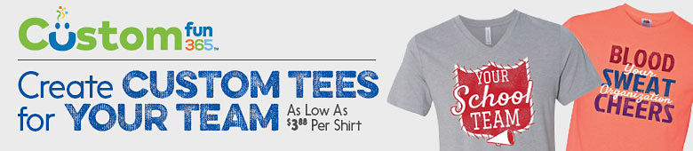 CustomFun365. Create custom tees for your team as low as $3.88 per shirt.