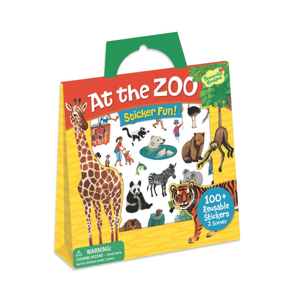 At The Zoo Reusable Sticker Tote From MindWare